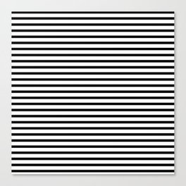 Stripped horizontal black and white pattern Canvas Print