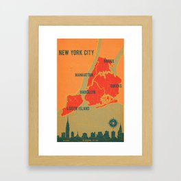 NYC Boroughs in Red Framed Art Print