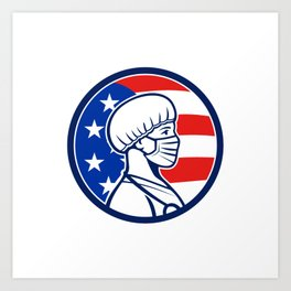 American Nurse Wearing Mask Side USA Flag Mascot Art Print