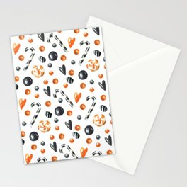Happy halloween pattern with candies and lollipops Stationery Cards