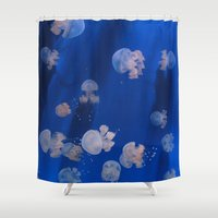 jellyfish Shower Curtains featuring jellyfish by shennyche