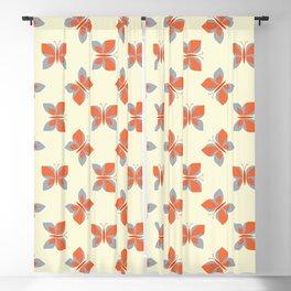 Geometric retro orange butterfly vector pattern design. Blackout Curtain