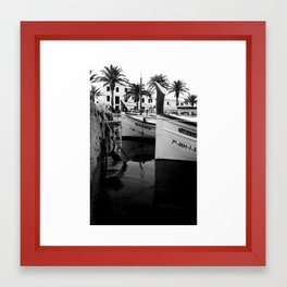 Boats in Fornells Framed Art Print