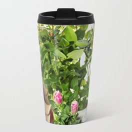Beautiful pink and yellow roses in a flowerpots and garden tools  isolated on white Travel Mug