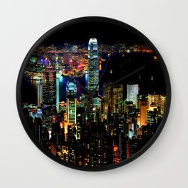 Hong Kong City Skyine Black Night Wall Clock