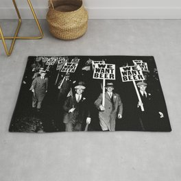 We Want Beer / Prohibition, Black and White Photography Rug