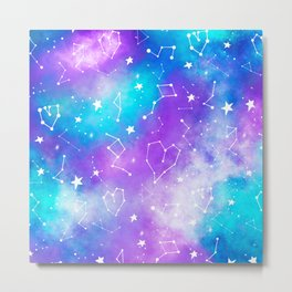 Modern nebula ultra violet watercolor hand painted white constellation stars universe small pattern Metal Print
