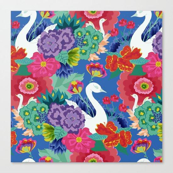Swans & Flowers Canvas Print