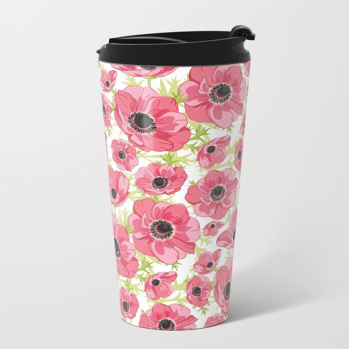 Pink Anemones Metal Travel Mug