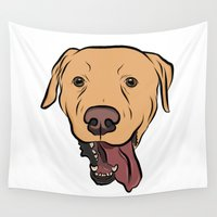 lab Wall Tapestries featuring Levi the Yellow Lab by Rachel Barrett