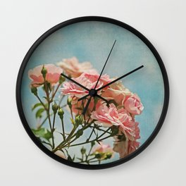 Vintage Inspired Pink Roses in Pastel Blue Sky with French Script Wall Clock