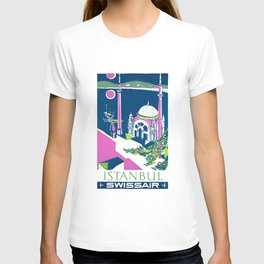 1951 Swiss Air Istanbul Airline Travel Poster T-shirt