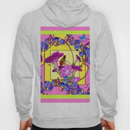 Blue Morning Glories Butterfly Yellow Patterns Pink Art Hoody