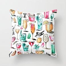 Summer Cocktail Pattern - Original Colors Throw Pillow