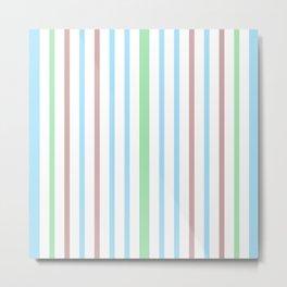 Blue Green Stripes Metal Print