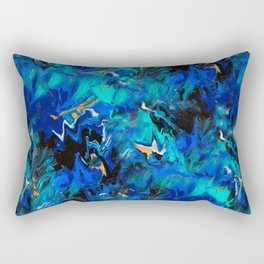 Ripples (Blue, White, Black & Gold Acrylic - Repeat Pattern) Rectangular Pillow