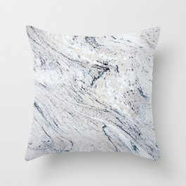 Vintage Black White Stylish Marble Texture Throw Pillow