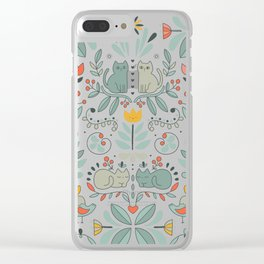 Swedish Folk Cats Clear iPhone Case