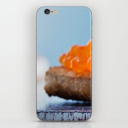 Sandwich with red caviar on a gray background iPhone Skin