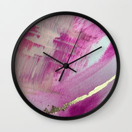 Starburst: a colorful, minimal abstract mixed-media piece in pinks and gold by Alyssa Hamilton Art Wall Clock