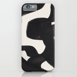 Mid Century Modern Minimalist Abstract Art Brush Strokes Black & White Ink Art Maze iPhone Case