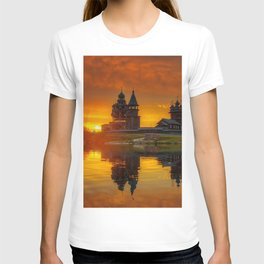 Photo Church Russia Museum Karelia, Kizhi, lake Onega, Medvezhiegorsk region Lake Island sunrise and sunset from wood Cities museums Sunrises and sunsets Wooden T-shirt
