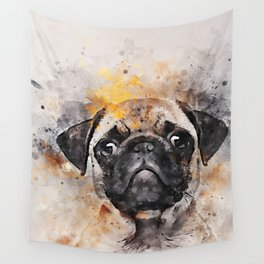 Pug Puppy Using Watercolor On Raw Canvas Wall Tapestry