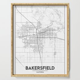 """""""Minimal City Maps - Map Of Bakersfield, California, United States Serving Tray"""