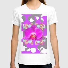 Modern Art Lilac-White Orchid Grey Patterns T-shirt
