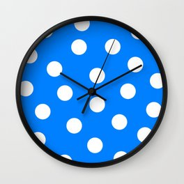 Polka Dots - Azure and White Wall Clock