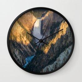 Yellowstone Lower Falls Canyon Landscape Wyoming Nature Wall Clock