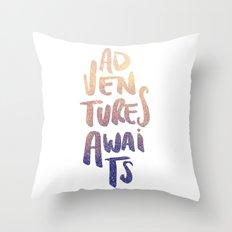 Adventures Awaits Throw Pillow