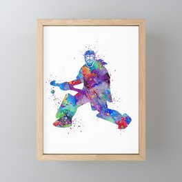 Girl Field Hockey Goalie Watercolor Print Sports Art Gifts Painting Home Decor Framed Mini Art Print