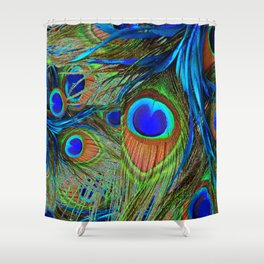 BLUE-GREEN PEACOCK FEATHERS ART Shower Curtain