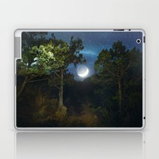 Moonset in coniferous forest Laptop & iPad Skin