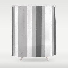Asymmetrical Multi Value Grey Flecked Jagged Stripes Shower Curtain