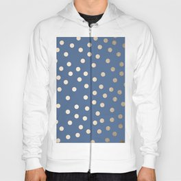 Simply Dots White Gold Sands on Aegean Blue Hoody