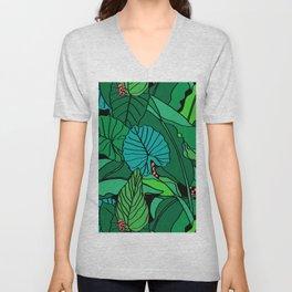 Jungle Leaves Illustrated in Black Unisex V-Neck