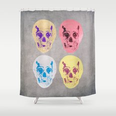 Skulls in Technicolor Shower Curtain