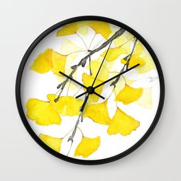 Golden Ginkgo Leaves Wall Clock