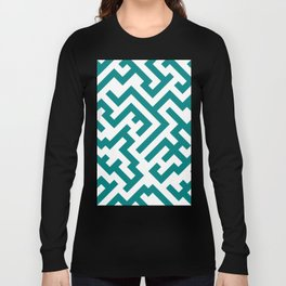 White and Teal Green Diagonal Labyrinth Long Sleeve T-shirt