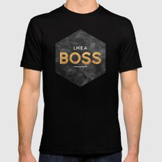 Like a boss X-LARGE Black Mens Fitted Tee
