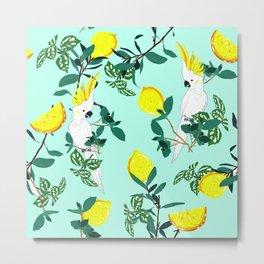 Cockatoo lemon pattern botanical nature Metal Print