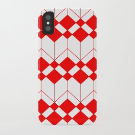 Abstract geometric pattern - red and white. iPhone Case