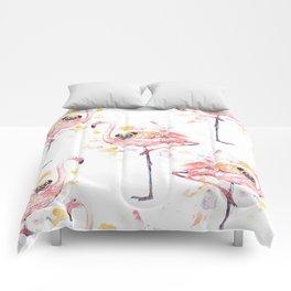 Flamingo and Pug Watercolor Comforters