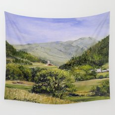 Pastures and Mount Mansfield Wall Tapestry