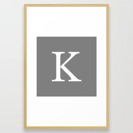 Darker Gray Basic Monogram K Framed Art Print