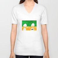 chocolate V-neck T-shirts featuring Chocolate by Satoshi OTA