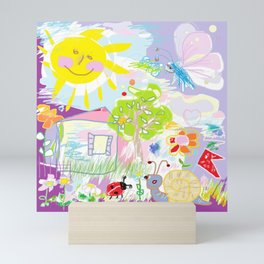 My happy world Doodle for children room Nursery home decor Mini Art Print