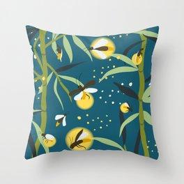 Glowing Bamboos Midnight Throw Pillow